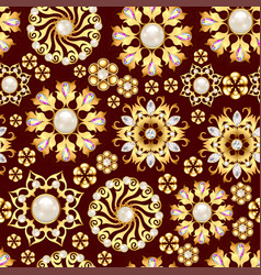 a seamless jewelry background with golden vector image