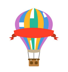 aerostat air balloon with red advertising ribbon vector image