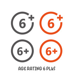 Age rating 6 plus movie icon under 6 years sign vector
