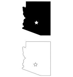 Arizona az state map usa with capital city star vector