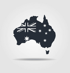 Australia map icon with the flag vector