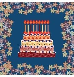 Birthday cake with nine candles Nine years vector image