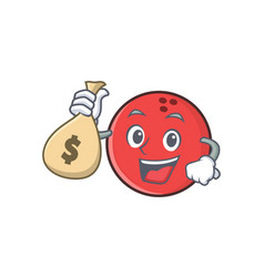 Bowling ball character cartoon with money bag vector