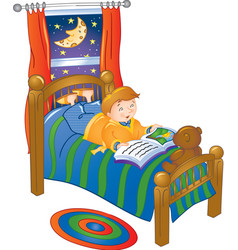 boy reading in bed vector image