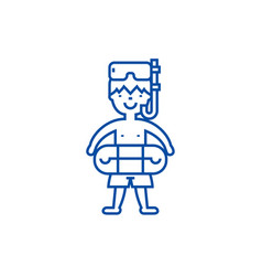 boy with swimming mask line icon concept boy with vector image