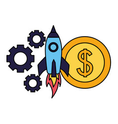business rocket money coin gears vector image