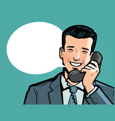 businessman talking on the phone telephone vector image