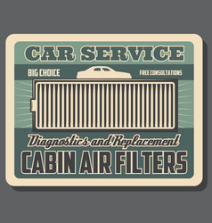 car ventilation system cabin air cleaning filter vector image