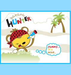 cartoon of the banana hunter vector image