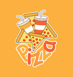 cartoon pizza with soft drinks vector image