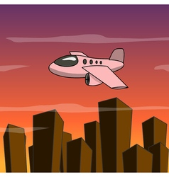Cartoon plane fly over the city vector