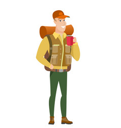 caucasian traveler holding cup of coffee vector image