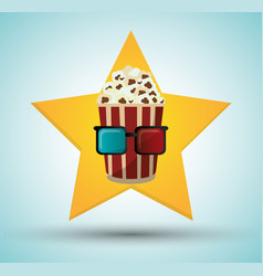 cinema pop corn bucket 3d glasses star background vector image