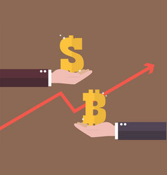 currency exchange dollar and bitcoin vector image
