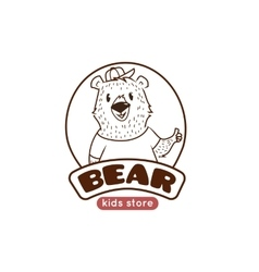 cute cartoon bear logo Funny animal mascot vector image