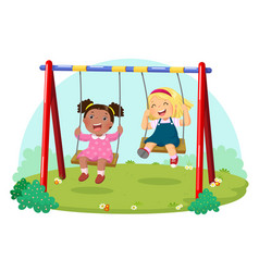 Cute kids having fun on swing in playground vector
