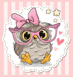 cute owl in pink eyeglasses vector image