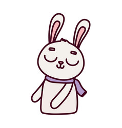 Cute rabbit with scarf cartoon character icon vector
