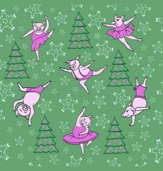 dancing piglets pattern vector image