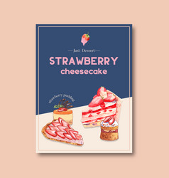Dessert poster design with strawberry cheesecake vector