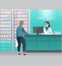 Drugstore pharmacy with pharmacist customer vector