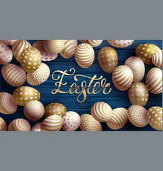 easter egg with gold pattern happy banner vector image