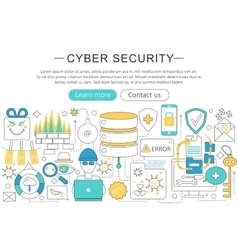 elegant thin flat line Cyber security vector image