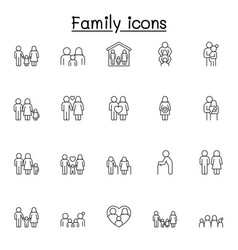 family icons set in thin line style vector image