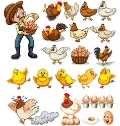 Farmer collecting eggs from chickens vector