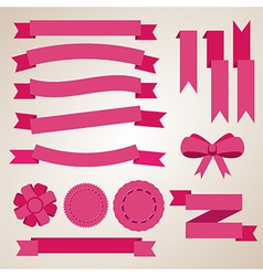 Flat color ribbons badges bookmarks and bow vector image