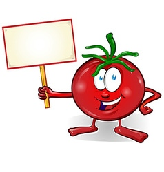 Fun tomato cartoon with signboard vector