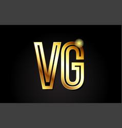 gold alphabet letter vg v g logo combination icon vector image