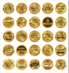 golden labels premium quality collection vector image