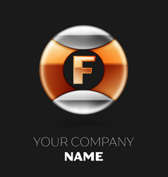 golden letter f logo in silver-golden circle vector image