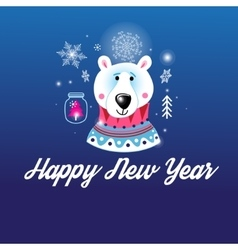 Greeting Christmas card with a picture of the bear vector
