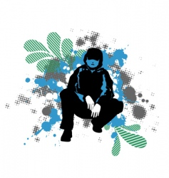grunge man silhouette vector image