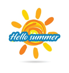 Hallo summer with sun vector
