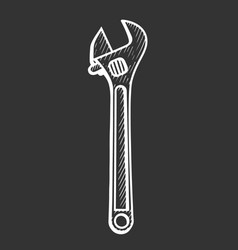 hand drawn adjustable spanner vector image