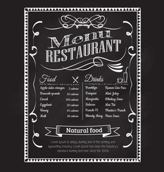 Hand drawn restaurant menu blackboard vintage vector