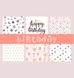 happy birthday seamless patterns and lettering vector image