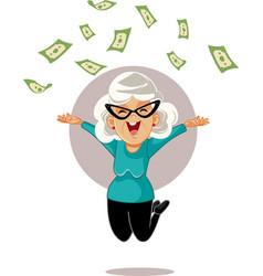 Happy pensioner woman throwing money up in air vector