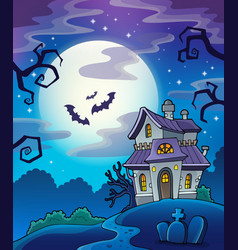 Haunted house theme background vector
