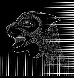 head of a wild cat zen tangle with damaged vector image