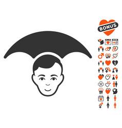 Head umbrella icon with lovely bonus vector