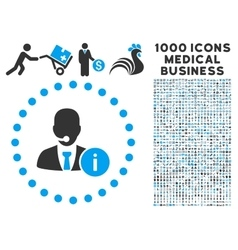 help desk icon with 1000 medical business symbols vector image