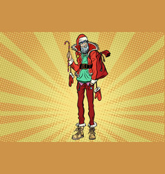 hipster santa claus with christmas gift bag vector image