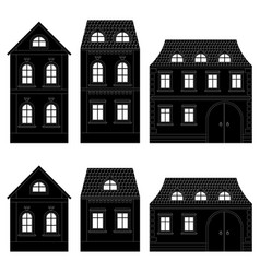houses black silhouettes buildings vector image