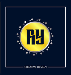 initial letter ry logo template design vector image