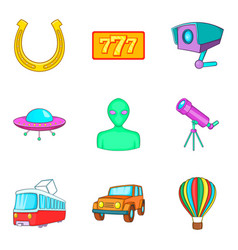Inspection icons set cartoon style vector