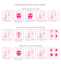 Instructions for use face masks vector